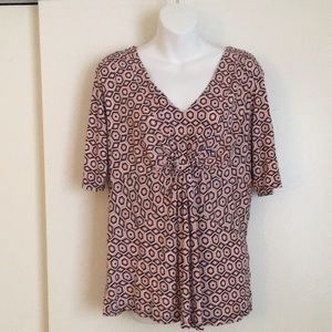 Daisy Fuentes Gathered Shirred Dress Top XL
